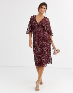 Платье миди винного цвета с запахом и пайетками Maya Bridesmaid-Красный