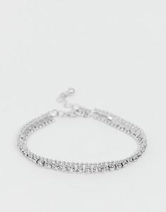 Серебристый браслет-цепочка с кристаллами ASOS DESIGN-Серебряный