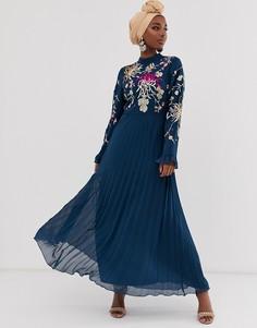 Платье макси с вышивкой и рукавами клеш ASOS DESIGN-Темно-синий