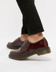 Красные туфли из веган-кожи с 3 парами люверсов Dr Martens 1461-Красный