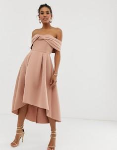 Платье миди для выпускного с открытыми плечами ASOS DESIGN-Коричневый