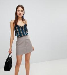 Мини-юбка из искусственной кожи New Look-Серый