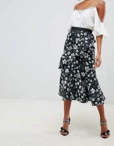 Жаккардовая юбка миди с оборками и цветочным принтом ASOS DESIGN-Мульти