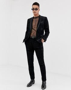 Черный приталенный пиджак-смокинг с бархатным анималистичным узором ASOS DESIGN