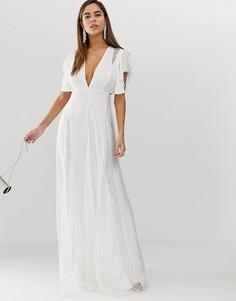 Платье макси с кружевными вставками годе ASOS DESIGN-Белый