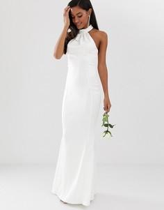Платье макси с высоким воротом Lipsy bridal-Белый