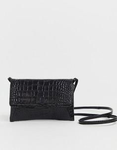 Черная кожаная сумка-конверт через плечо с рисунком крокодиловой кожи Vagabond - Tulum-Черный