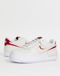 Белые кроссовки с розовыми вставками Nike Air Force 1-Белый