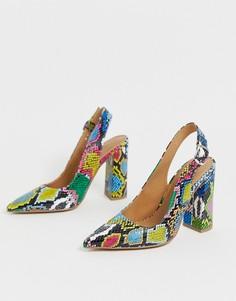 Туфли на высоком блочном каблуке с ремешком через пятку и разноцветным змеиным принтом ASOS DESIGN Penley-Мульти