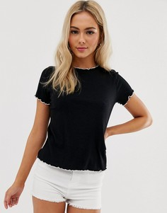 Черная футболка с контрастной отделкой по краю Pimkie-Черный
