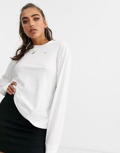 Белая футболка с длинным рукавом и логотипом-галочкой Nike-Белый