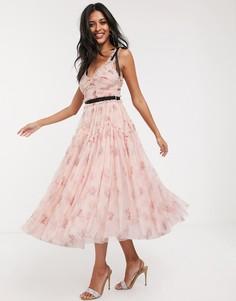 Розовое платье миди с контрастным поясом и цветочным принтом Needle & Thread-Розовый