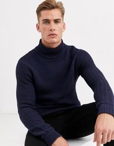 Темно-синий фактурный джемпер с высоким воротником Selected Homme