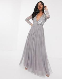 Серое платье макси с пайетками Needle & Thread-Серый