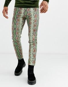 Зеленые джинсы скинни со змеиным принтом ASOS DESIGN-Синий