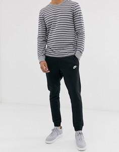 Черные джоггеры с кромкой манжетом Nike - Club-Черный