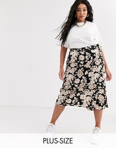 Эксклюзивная атласная юбка миди с запахом и цветочным принтом Missguided Plus-Темно-синий