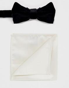 Черный бархатный галстук-бабочка и белый платок для пиджака Devils Advocate