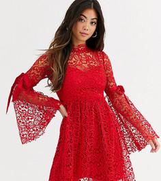 Кружевное платье с ленточными завязками на рукавах Sisters Of The Tribe-Красный