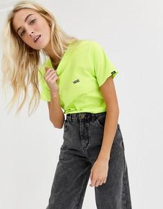 Неоново-зеленая футболка с маленьким логотипом Vans-Черный