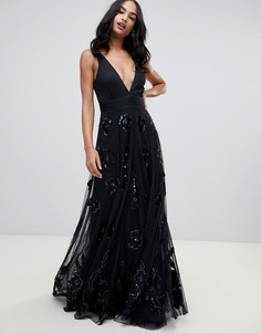 Черное платье макси для выпускного с глубоким вырезом A Star Is Born-Черный