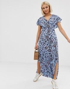 Платье макси с цветочным принтом, запахом и завязкой сзади QED London-Мульти
