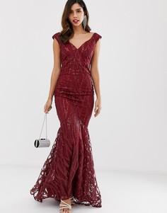 Платье макси с годе и пайетками City Goddess-Красный