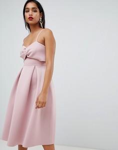 Платье миди для выпускного с кроп-топом ASOS DESIGN-Розовый