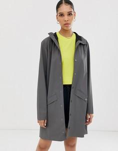 Длинная непромокаемая куртка Rains-Серый