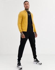 Трикотажная куртка Харрингтон узкого кроя ASOS DESIGN-Желтый