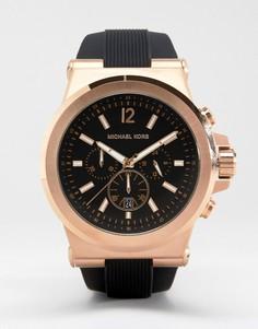 Большие часы с хронографом и силиконовым ремешком Michael Kors MK8184 Dylan-Черный
