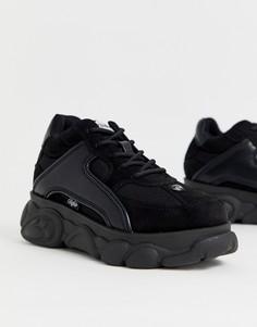 Низкие кожаные массивные кроссовки черного цвета Buffalo - Colby-Черный