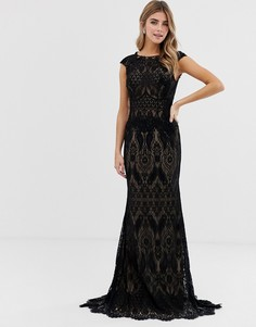 Кружевное платье макси Jovani-Черный