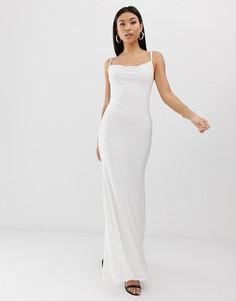 Белое платье макси с драпированным вырезом Club L London-Белый
