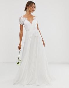 Кружевное свадебное платье с плиссированной юбкой ASOS EDITION-Белый