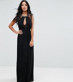 Платье макси с высоким воротом, отделкой и кружевными вставками TFNC Petite-Черный