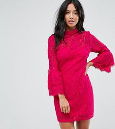 Платье мини из кружева кроше с высоким воротом и оборками на рукавах Paper Dolls Petite-Розовый
