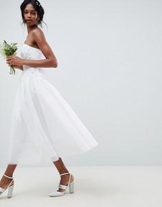 Свадебное платье-бандо миди с тюлевой отделкой ASOS EDITION-Белый