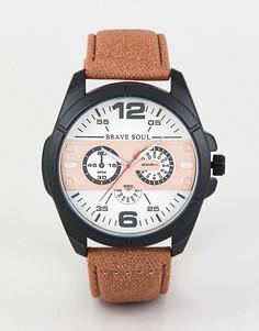 Часы с хронографом и светло-коричневым ремешком Brave Soul-Светло-коричневый
