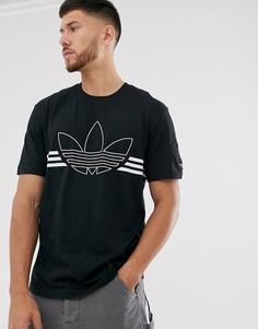 Черная футболка с большим логотипом-трилистником adidas Originals-Черный