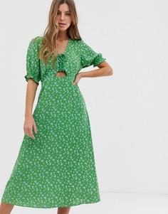 Зеленое платье миди с завязкой спереди и цветочным принтом New Look-Зеленый