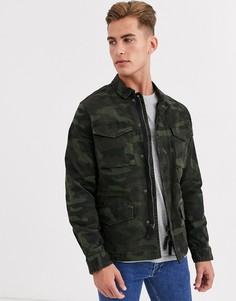 Спортивная куртка с камуфляжным принтом Selected Homme-Зеленый
