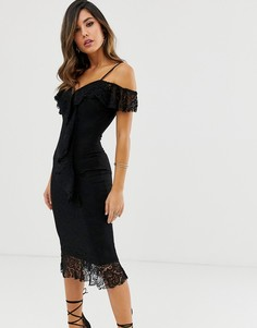 Платье миди с открытыми плечами и оборкой AX Paris-Черный