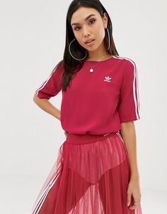 Розовая футболка с тремя полосками adidas Originals-Розовый