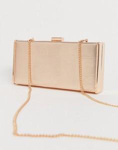 Прямоугольный клатч с пайетками цвета розового золота Forever New-Розовый