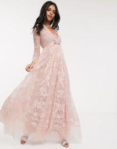 Пыльно-розовое платье макси с вышитым цветочным кружевом Needle & Thread-Розовый