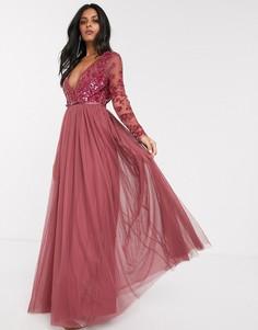 Платье макси малинового цвета с отделкой пайетками Needle & Thread-Красный