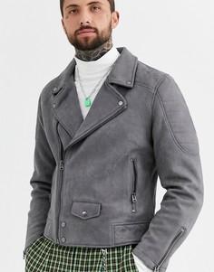 Серая байкерская куртка из искусственной замши Topman-Серый