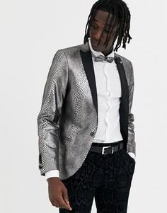 Супероблегающий пиджак со змеиным принтом Twisted Tailor-Серебряный