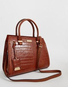Светло-коричневая сумка на молнии с рисунком крокодиловой кожи Carvela - Holly-Светло-коричневый